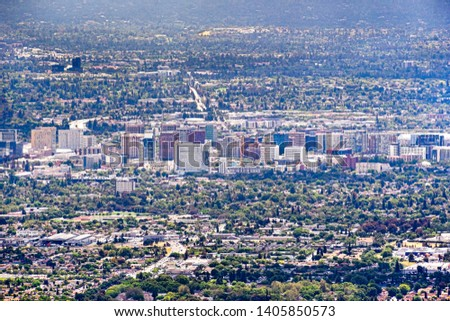 Aerial view of the buildings in downtown San Jose; Silicon Valley, California