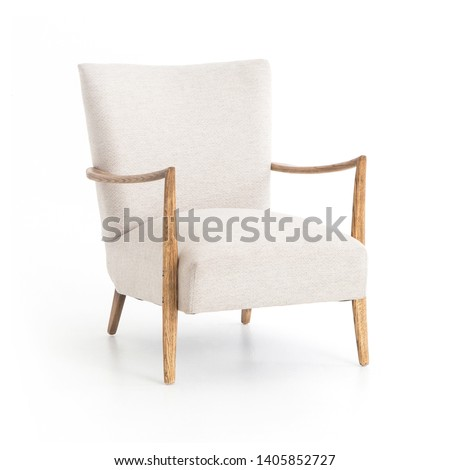 Upholstered French Art Deco Accent Wing Chair Isolated on White. White Armchair with Armrests in Naturally Worn Oak.  Sofa Set with Textural, Woven Fabric Seating. Interior Furniture Side View #1405852727