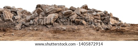 Isolated views of debris from concrete roads that were demolished, destroyed and left on the ground for construction. Royalty-Free Stock Photo #1405872914