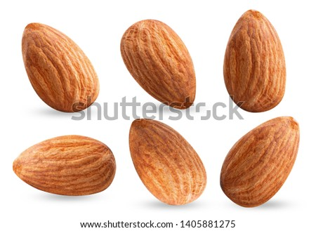almond piece collection nuts on white isolated .Clipping path #1405881275