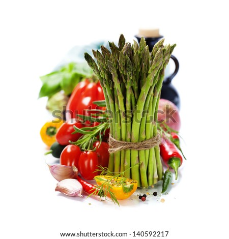 fresh vegetables on the white background - healthy or vegetarian eating concept #140592217
