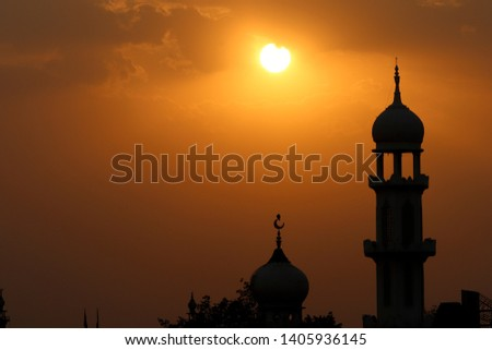 Beautiful Sunset view over the masjid #1405936145