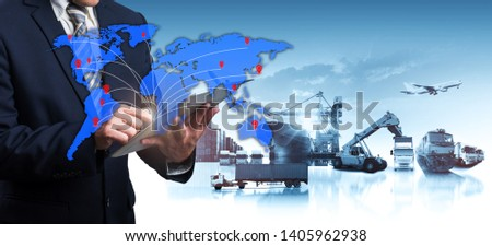 World map with logistic network distribution, Logistic and transport concept in front Industrial Container Cargo freight ship for Concept of fast or instant shipping, Online goods orders worldwide #1405962938