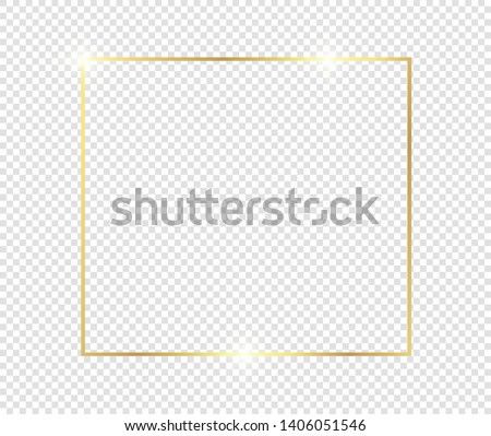 Gold shiny glowing frame with shadows isolated on transparent background. Golden luxury vintage realistic rectangle border. illustration - Vector #1406051546