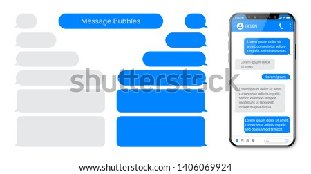 Smart Phone chatting sms template bubbles. Place your own text to the message clouds. Compose dialogues using samples bubbles. Royalty-Free Stock Photo #1406069924