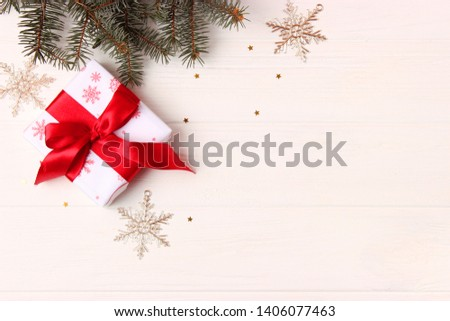Christmas or New Year's gifts on a light background.  #1406077463