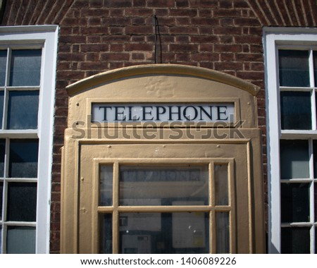 Kingston Upon Hull, Britain, UK - 12th May 2019: Cream telephone painted gold to commemorate the Olympic winners in London 2012. Hulls gold medallist Luke Campbell.  #1406089226