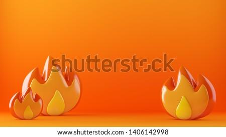 Fire flames on hot background, 3d illustration, 3d rendering.