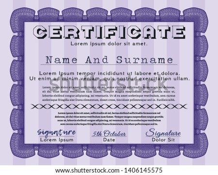 Violet Certificate template. With guilloche pattern and background. Perfect design. Vector illustration.  #1406145575
