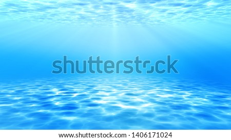 summer time under sea ocean in clean and clear water with ray of sunlight from surface for background concept design #1406171024