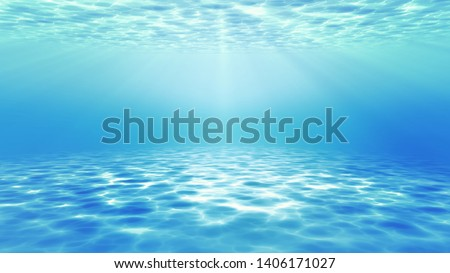 summer time under sea ocean in clean and clear water with ray of sunlight from surface for background concept design #1406171027