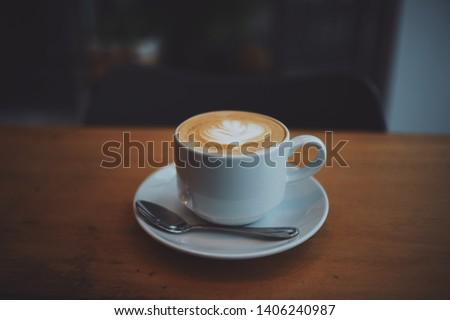 coffee latte art in coffee shop cafe #1406240987