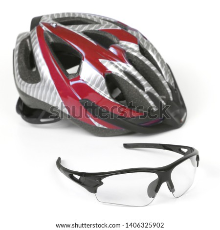 bike transparent glasses on the background of the helmet. sports equipment. sports equipment