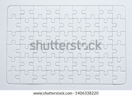 Jigsaw puzzle white color,Puzzle pieces grid,Success mosaic solution template,Horizontal on white background copy space for text,Top view #1406338220
