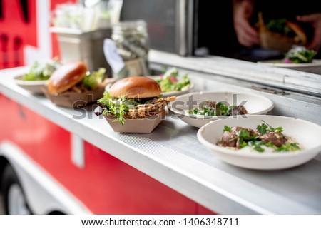 Arrangement of local food from foodtruck #1406348711