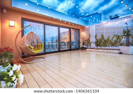 evening patio area with sliding doors #1406361104