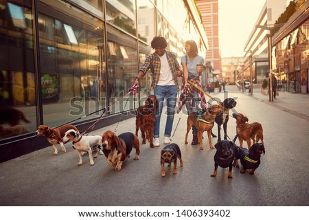 Smiling girl and man dog walker in the street with lots of dogs #1406393402