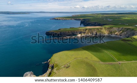Scenic aerial view of coastal cliffs on the west coast of North Kerry in the republic of Ireland #1406409587