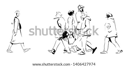 A miscellaneous collection of people. Pedestrians rush on business. Sketch, Vector. Royalty-Free Stock Photo #1406427974