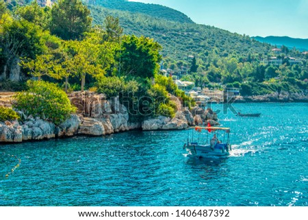 Kas, Turkey - September 11, 2018 : Kas coastal view in Kas Town of Turkey #1406487392