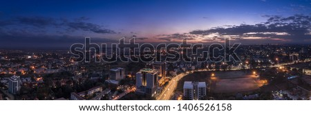Panorama photo of Nairobi cityscape - capital city of Kenya, East Africa - Image #1406526158