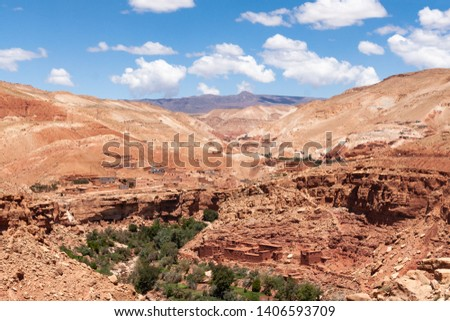 Adobe villages in an ravine of the Atlas mountains, Morocco #1406593709