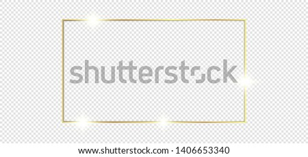 Gold shiny glowing frame with shadows isolated on transparent background. Golden luxury vintage realistic rectangle border. illustration - Vector #1406653340