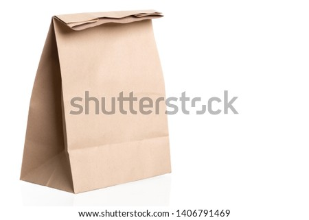 simple brown paper bag for lunch or food isolated on white background with copy space #1406791469