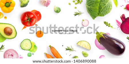 Creative layout made of tomato, cucumber, pepper, onion, carrot, beetroot, eggplant, cabbage, garlic, broccoli and green beans on the watercolor background. Flat lay. Food concept. #1406890088
