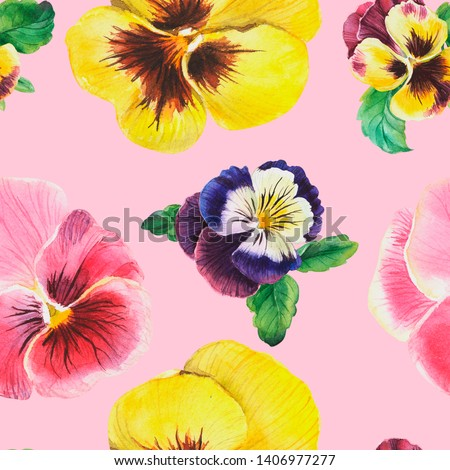 Beautiful seamless floral pattern, pansy flowers, watercolor painting, pattern on pink background