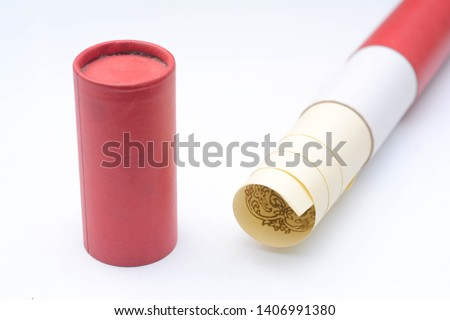 Certificate in the red certificate scroll over white background. #1406991380