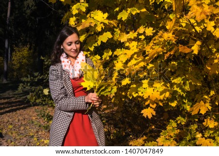 Young woman wearing gray coat and red dress having fun in autumn park and holding yellow maple leaves in hands. Happy girl enjoying weekend outdoor walking. Sunny day and fall nature on background.  #1407047849