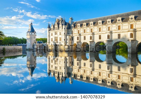 Chateau de Chenonceau is a french castle spanning the River Cher near Chenonceaux village, Loire valley in France #1407078329