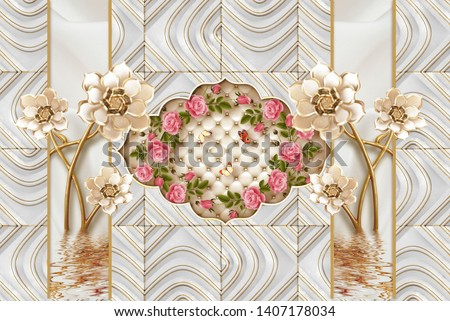 3D wallpaper design with brick and flowers for photomural 3D wall