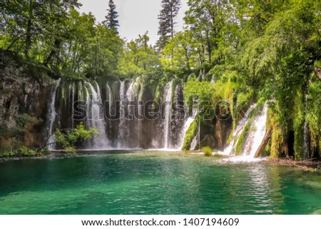 Stunning Waterfall and Lake at Plitvice National Park Croatia #1407194609