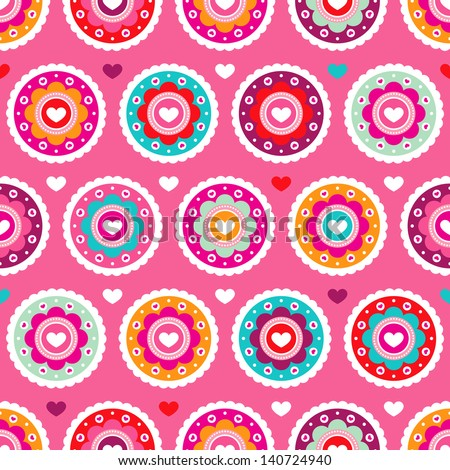 Seamless flower pink red retro background pattern in vector