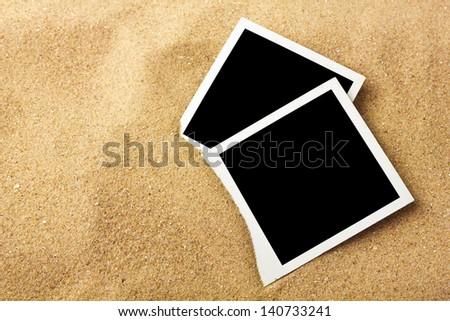Photo frame on sand background, path inside frame