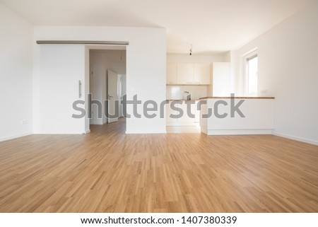 empty flat with wooden beech flooring #1407380339
