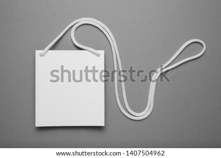 Name tag badge, isolated convention card blank on grey background. #1407504962
