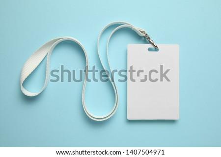 Name tag, badge mockup. Lanyard card blank on blue background. #1407504971