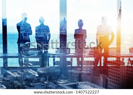 Group of business partner looking for the future. Concept of corporate and startup #1407522227