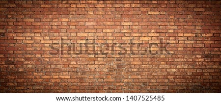 Old Brick wall panoramic view. Grunge red vintage background. #1407525485