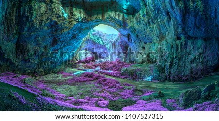 Extraterrestrial panoramic view inside mystic cave.  Davetashka cave in Bulgaria Royalty-Free Stock Photo #1407527315