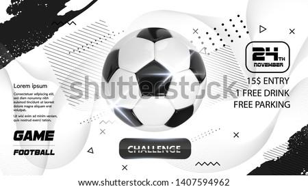 Soccer Poster design. Football Ball flyer concept. Design For Sport Bar ticket sale sport promotion. Tournament, Championship Flyer Design. Vector Soccer Sport Club, Academy Flyer or Invitation #1407594962