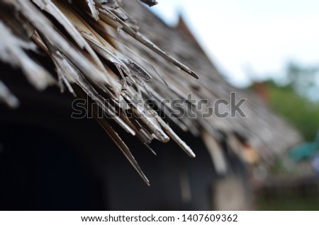 Roof with hay In Thai house #1407609362