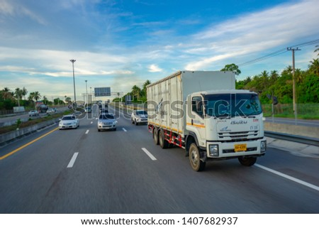 Pattaya,Thailand - MAY 2019:Many car and truck use Motorway Pattaya for tranportation from Bangkok to chonburi province. #1407682937