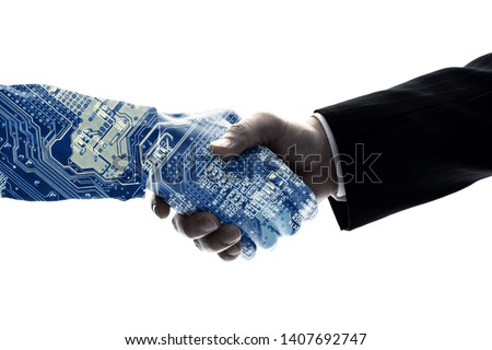 Partnership of human and robot. AI (Artificial Intelligence). #1407692747