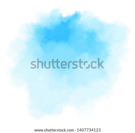 Blue color vector hand drawn watercolor liquid stain. Abstract aqua smudges scribble drop element for design, illustration, wallpaper, card Royalty-Free Stock Photo #1407734123