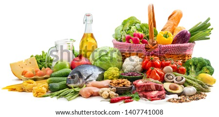 Balanced diet food background. Selection of various paleo diet products for healthy nutrition  #1407741008