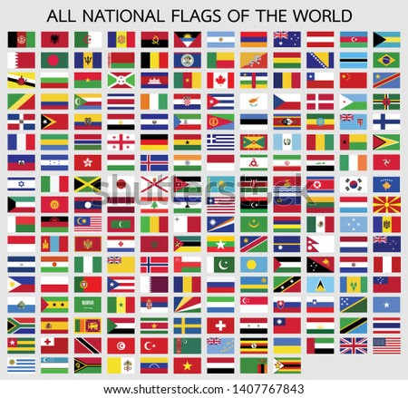 All official national flags of the world vector design Illustration #1407767843